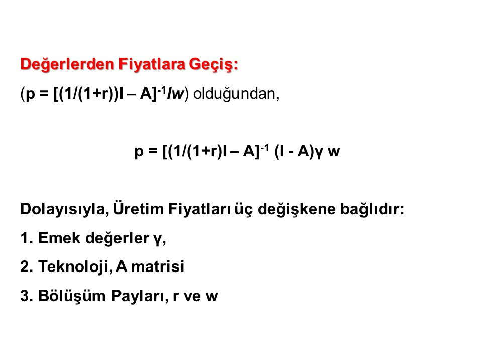 p = [(1/(1+r)I – A]-1 (I - A)γ w